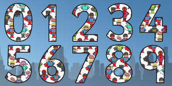 Superhero Themed A4 Display Numbers - superhero, number, display