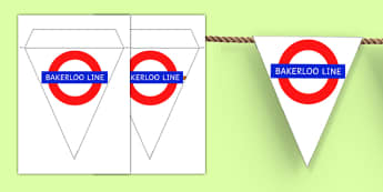 London Underground Bakerloo Line Themed Display Bunting - london underground, bakerloo line, display bunting