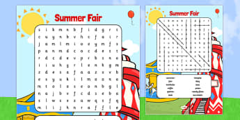 Summer Fair Wordsearch - summer, fair, wordsearch, search, word
