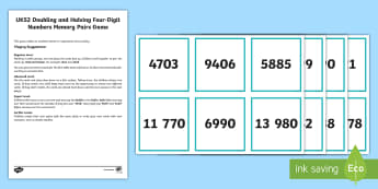 UKS2 Doubling Halving Four-Digit Numbers Memory Pairs Game - memory, pairs, double, half, doubling, halving, game, card game, 4-digit, four digit, 4 digit, large