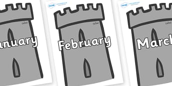 Months of the Year on Turrets - Months of the Year, Months poster, Months display, display, poster, frieze, Months, month, January, February, March, April, May, June, July, August, September