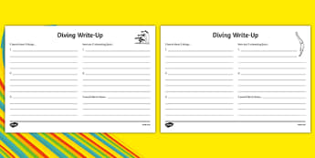 The Olympics Diving Write Up Worksheet - the olympics, diving, dive, rio 2016, write up, worksheet