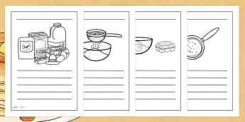 Pancake Recipe Writing Frames - pancake, writing, page border, writing instructions