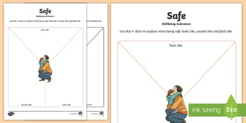 CfE Wellbeing Indicators Safe Y Chart Activity Sheet-Scottish - CfE Health and Wellbeing Resources, GIRFEC, SHANARRI, safe,Scottish