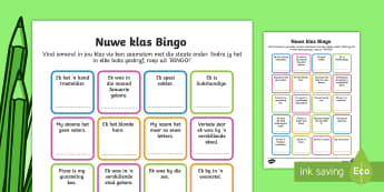 Nuwe klas bingo - New Class Bingo - transition, games, classroom games, preparation, trasition, bump up day, tranistio