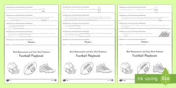4th Grade Football Playbook (Measurement & Data Word Problems) Activity Booklet