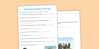 Tom Crean Puzzle Activity - Tom Crean, Irish History, South Pole, Antarctica, puzzle