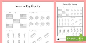 Memorial Day Counting Activity Sheet - Memorial Day worksheet, veterans, parade, us events, worksheet, worksheets