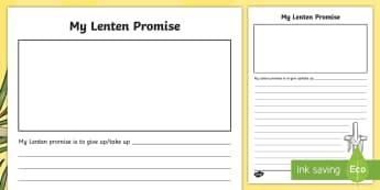 ROI My Lenten Promise Activity Sheet-Irish - ROI, Lent, Lenten Promise, Religion, Holy Week,Irish, ireland, christian, christianity, fasting, eas
