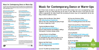 Music List for Contemporary Dance or Warm-Ups - suggestion, playlist, technique, choreography.