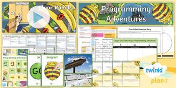 PlanIt D&T Upper KS2 - Programming Adventures Unit Pack - floor robots, adventure, map, program, control, monitor, movement, forward, backward, turn right, tu