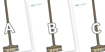 A-Z Alphabet on Brushes - A-Z, A4, display, Alphabet frieze, Display letters, Letter posters, A-Z letters, Alphabet flashcards