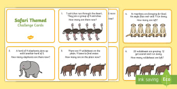 Safari Themed Addition and Subtraction Word Problems to 20 Challenge Cards - Addition, Subtraction, word problems, problem solving, safari themed, safari, africa, african animal