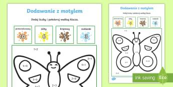 Dodawanie liczb z motylem - motyl, matematyka, suma, dodaj, dodać, oblicz, liczenie,  liczby