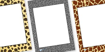 Editable Safari Animal Patterns Themed Portrait Frames - safari, safari pattern writing frames, safari pattern page border, editable safari page borders