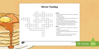 Shrove Tuesday Crossword - shrove tuesday crossword, pancake tuesday crossword, pancake day crossword, shrove tuesday, pancake