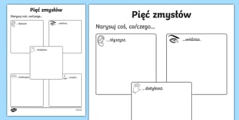 The Five Senses Drawing Activity Sheet Polish-Polish, worksheet