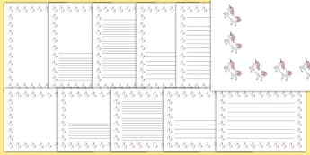Unicorn Themed Page Borders - unicorn, page borders, fantasy, imagination, writing frames, horn, horse
