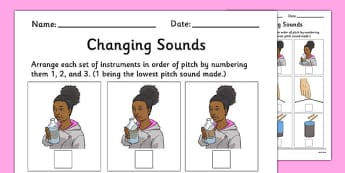 Changing Sound Worksheet - changing sounds, changing pitch, changing pitch worksheet, instuments, music, ks2 music worksheet, how to change the pitch, ks2