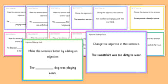 Adjectives Challenge Cards - roi, irish, gaeilge, english, sentence level, adjectives, reading, game