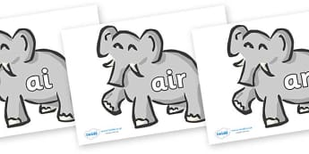 Phase 3 Phonemes on Elephants - Phonemes, phoneme, Phase 3, Phase three, Foundation, Literacy, Letters and Sounds, DfES, display