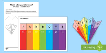 What Is a Compound Sentence?: Create a FANBOYS Fan Craft Instructions - what is a compound sentence, compound sentence, multi-clause sentence, sentences, sentence types, co
