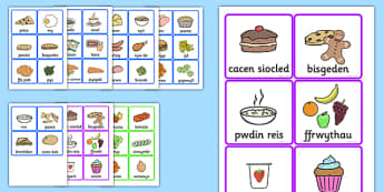 Food Cards Welsh Translation - food, cards, translation, welsh