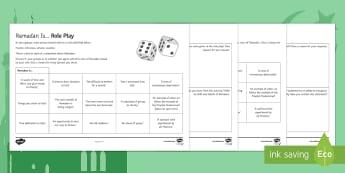 Ramadan Games Activity Sheets - Secondary - RE - Islam KS3, dice, fasting, worksheet, dedication, old tradition, Muslim, Christian,