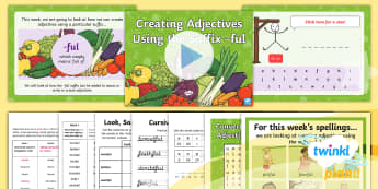 PlanIt Spelling Year 5 Term 3B W4: Converting Nouns or Verbs into Adjectives Using the Suffix  -ful Spelling Pack - Spellings Year 5, SPaG, words, lists, suffixes, adjectives, Y5,