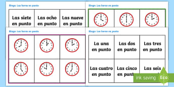 O'Clock Time In Spanish Bingo - Spanish, KS2, what, time, is, it, o'clock, bingo, game, numeracy,