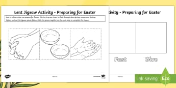 Preparing for Easter Lent Jigsaw Activity Sheet -  Lent, Easter, alms giving, fasting, prayer, preparing  ,Scottish, god, religion, worksheet