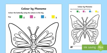 Colour by Phoneme Butterfly Phase 2 g o c k - phoneme, phase 2