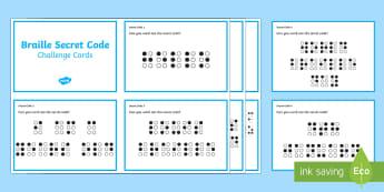 Braille Secret Code Challenge Cards - KS1/2 World Braille Day  (4.1.17), braille, Louis Braille, code, sequence, pattern, inventor, profes