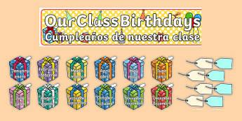 Editable Birthday Display Set Presents English/Spanish - spanish, Birthday set, birthday display, banner, birthday, birthday poster, birthday display, months of the year, cake, balloons, happy birthday