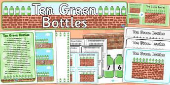 Ten Green Bottles Resource Pack - ten green bottle, resource pack, pack of resources, themed resource pack, ten green bottles pack, resource, nursery rhyme