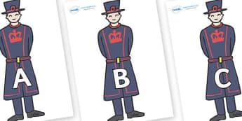 A-Z Alphabet on Beefeaters - A-Z, A4, display, Alphabet frieze, Display letters, Letter posters, A-Z letters, Alphabet flashcards