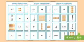 Tarjetas de emparejar: Las tablas de multiplicar - x2, x5, x10 - multiplicación, multiplicar, emparejar, tablas de multiplicación, x2, x5, x10, tarjetas, operacion