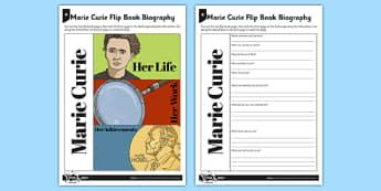 Marie Curie Flip Book Biography - radiation, x rays, bones, skeleton