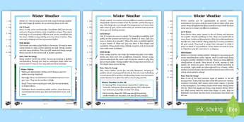 KS1 Winter Weather Differentiated Reading Comprehension Activity - Winter, weather, cold, freezing, blizzard, gust, breeze, wind, snow, rain, precipitation, hail, slee