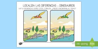 Actividad: Localiza las diferencias - Dinosaurios, pre-historia, dinos, tiranosaurio, estegosaurio, triceratops, proyectos, aprendizaje ba