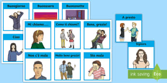 Italian Greetings Information Cards  - Italian Greetings, Information Cards, greetings, vocabulary, italian