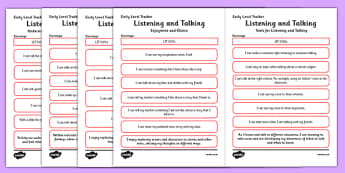 CfE Child Friendly Tracking Early Level Listening and Talking - Literacy, English, I Can, Tracking, Visual Pathway