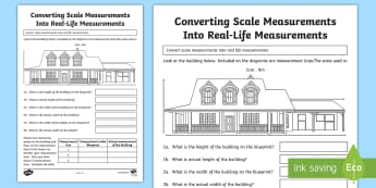 Converting Scale Measurements Into Real life measurements 2 Activity Sheet - Design it - Build it!, worksheet, converting measurements, scale, ratio, units of measure