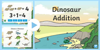 Dinosaur Themed Addition to 5 PowerPoint - dinosaur, addition, adding, plus, powerpoint, addition powerpoint, numeracy, numeracy powerpoint, themed addition