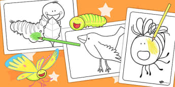Colouring Sheets to Support Teaching on The Crunching Munching Caterpillar - colour in