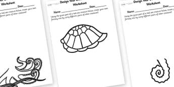 Under the Sea Design Your Own Sea Creature Worksheet - under the sea, sea creature design sheets, design a sea creature, design a sea creature worksheet