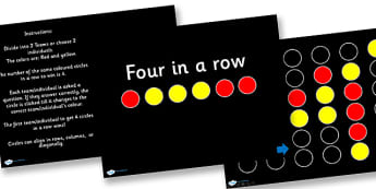 Four In A Row PowerPoint - four in a row, connect four, powerpoint, powerpoint games, powerpoint quiz, classroom management, classroom games, games