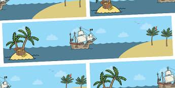 Small World Background (Pirates) - Small World, backdrop, background, scenery, small world area, small world display, small world resources, pirate, pirates, treasure, ship, jolly roger, ship, island, ocean