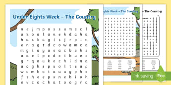Under Eights Week: The Country Word Search - Australia English: Under 8's Week, the country word search, under eights week, literacy, language,