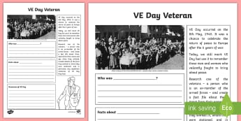 KS2 VE Day Veteran Writing Activity Sheet - KS2 VE day (8th May), VE Day, Victory in Europe Day, veteran, armed forces, memories, KS2, year 3, y